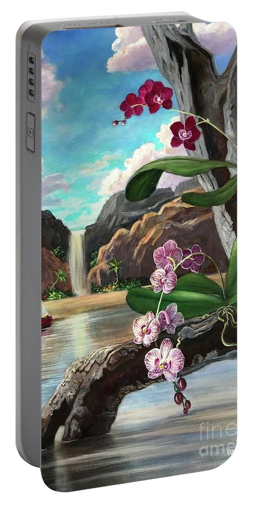 Orchids Portable Battery Charger featuring the painting The Orchids And The Sailboat by Randy Burns