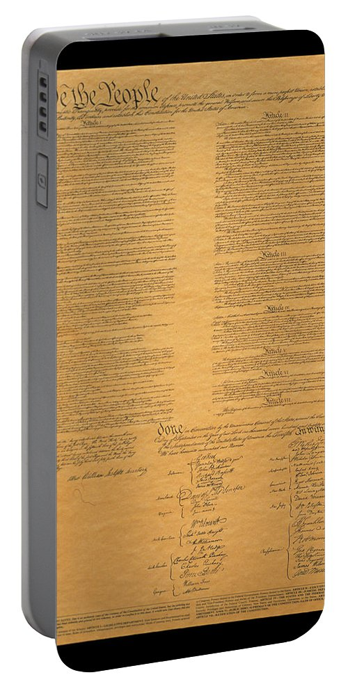 Photography Portable Battery Charger featuring the photograph The Original United States Constitution by Panoramic Images