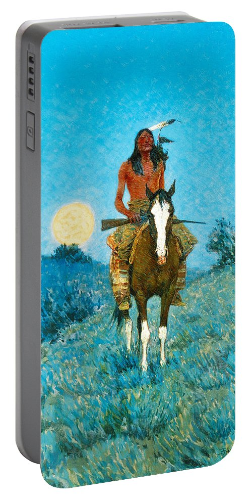 Native American Portable Battery Charger featuring the painting The Outlier by Frederic Sackrider Remington