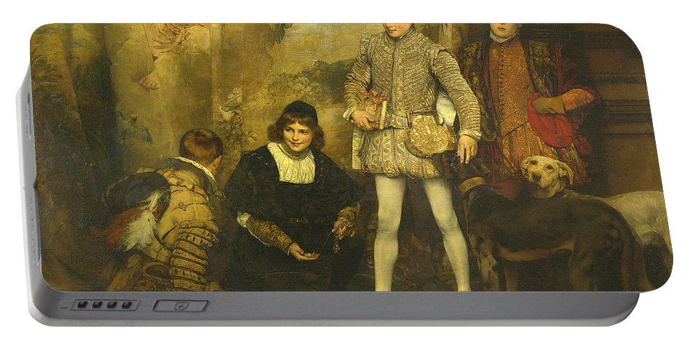 Eduard Charlemont Portable Battery Charger featuring the painting The Pages by Eduard Charlemont