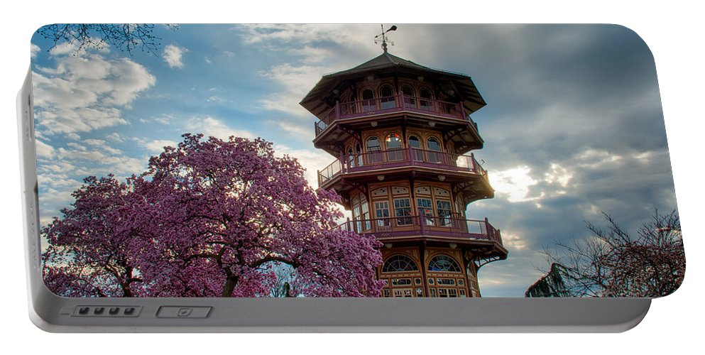 American Kiwi Photo Portable Battery Charger featuring the photograph The Pagoda In Spring by Mark Dodd