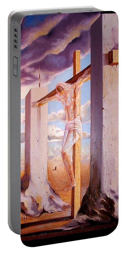 911 Portable Battery Charger featuring the painting The Pain Holder by Darwin Leon