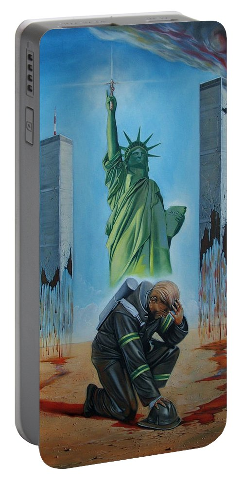 Surrealism Portable Battery Charger featuring the painting The Pain Holder II by Darwin Leon