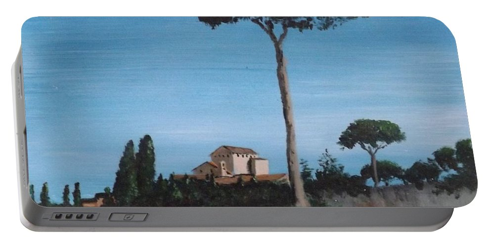 Rome Portable Battery Charger featuring the painting The Palatine Hill, Rome by Tony Gunning