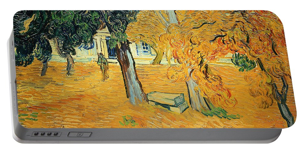 The Portable Battery Charger featuring the painting The Park At Saint Pauls Hospital Saint Remy by Vincent van Gogh
