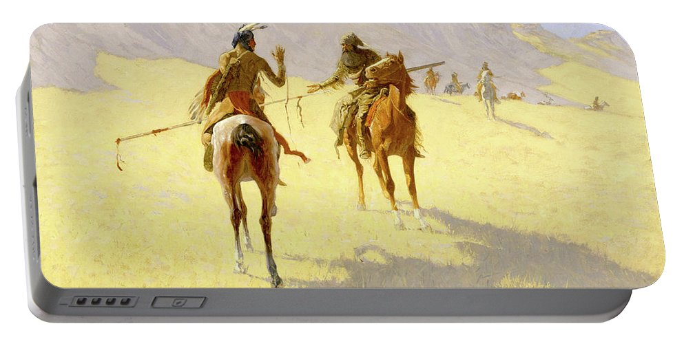 Native American Portable Battery Charger featuring the painting The Parley by Frederic Sackrider Remington