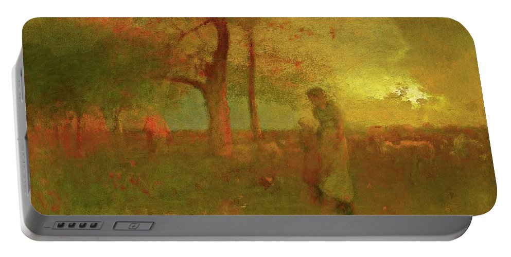 George Inness 1825-1894 The Passing Storm Portable Battery Charger featuring the painting The Passing Storm by George Inness