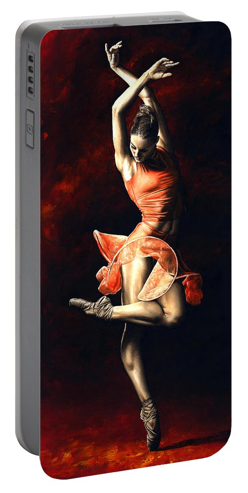 Dancer Portable Battery Charger featuring the painting The Passion of Dance by Richard Young