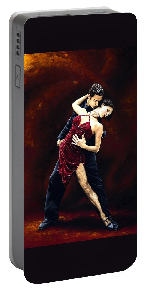 Tango Portable Battery Charger featuring the painting The Passion of Tango by Richard Young
