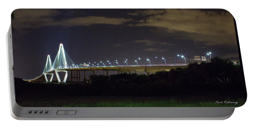 Reid Callaway Intersections Portable Battery Charger featuring the photograph The Path Above The Ships Arthur Ravenel Jr Bridge Charleston South Carolina by Reid Callaway