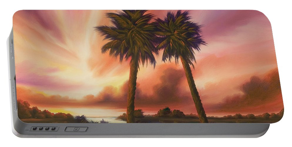 Skyscape Portable Battery Charger featuring the painting The Path Ahead by James Christopher Hill