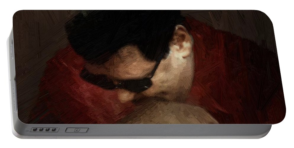 Portrait Portable Battery Charger featuring the painting The Penitent by RC DeWinter