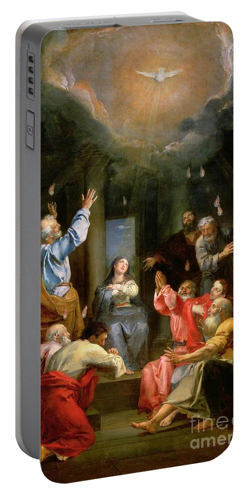 The Pentecost (oil On Canvas) Dove; Prayer; Adoration; Wonder; Virgin Mary; Madonna; La Pentecote; Faith Portable Battery Charger featuring the painting The Pentecost by Louis Galloche