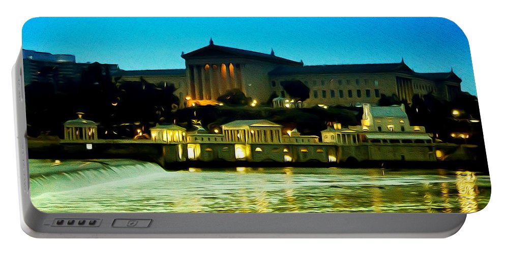 The Philadelphia Art Museum And Waterworks At Night Portable Battery Charger featuring the photograph The Philadelphia Art Museum And Waterworks At Night by Bill Cannon
