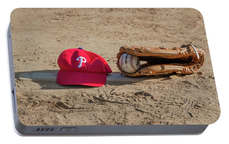 The Portable Battery Charger featuring the photograph The Philadelphia Phillies Baseball by Bill Cannon