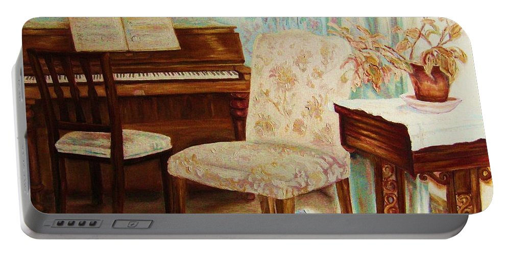 Iimpressionism Portable Battery Charger featuring the painting The Piano Room by Carole Spandau