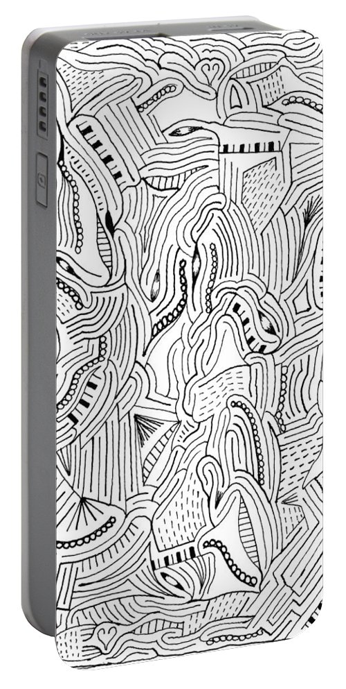Mazes Portable Battery Charger featuring the drawing The Piano by Steven Natanson