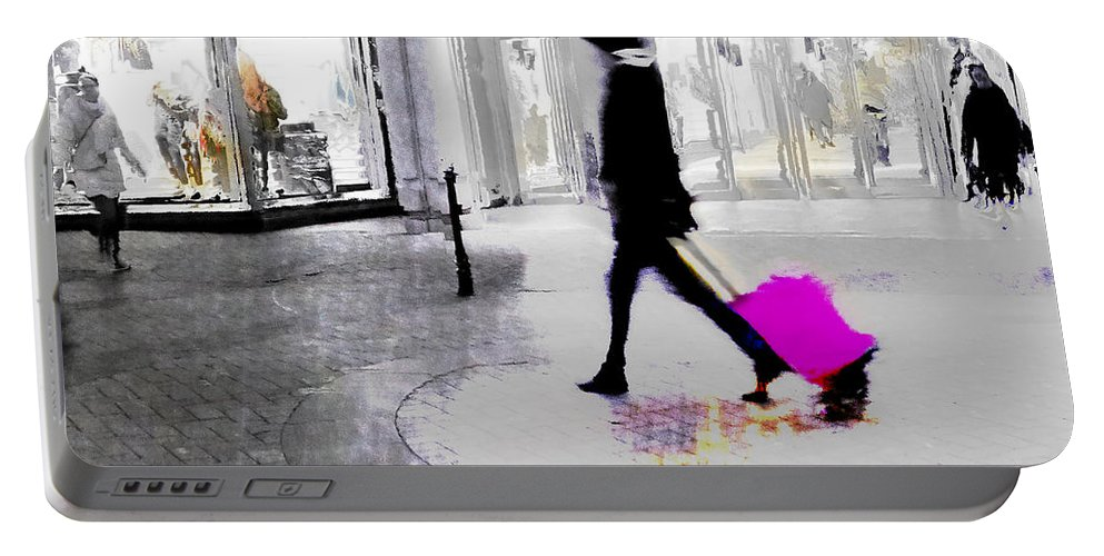 Pink Portable Battery Charger featuring the photograph The Pink Bag by LemonArt Photography