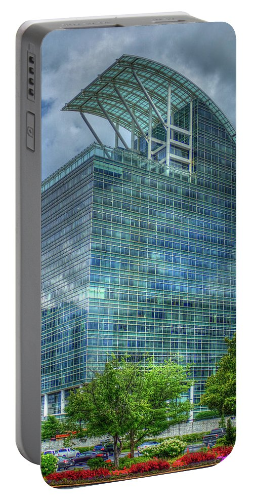 Reid Callaway The Pinnacle Images Portable Battery Charger featuring the photograph The Pinnacle Reflections Office Buildings Buckhead Atlanta Art by Reid Callaway