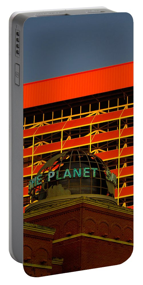 Urban Portable Battery Charger featuring the photograph The Planet San Antonio by Jill Reger