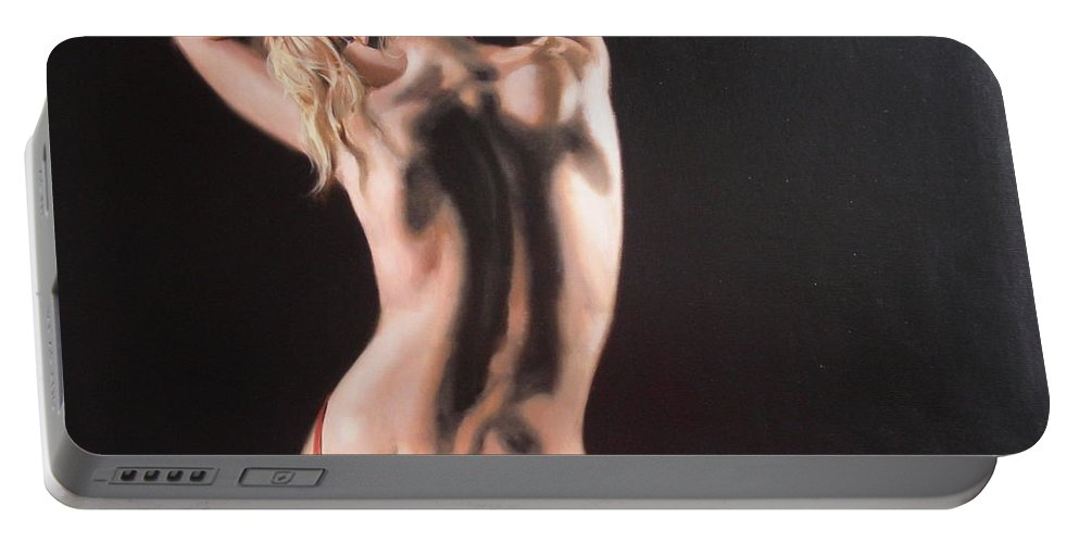 Art Portable Battery Charger featuring the painting The Play With Red Ribbon by Sergey Ignatenko