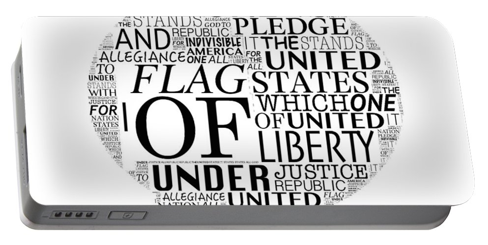 Pledge Of Allegiance Words Portable Battery Charger featuring the digital art The Pledge by Alice Gipson