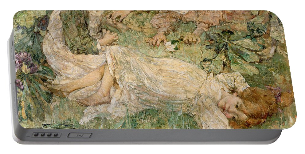 The Portable Battery Charger featuring the painting The Pool by Edward Atkinson Hornel