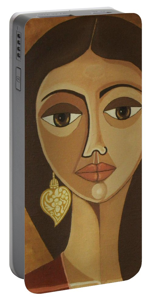 Portuguese Portable Battery Charger featuring the painting The Portuguese earring by Madalena Lobao-Tello