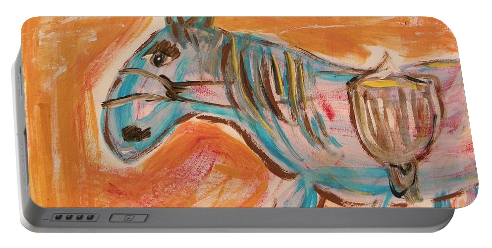 Horse Portable Battery Charger featuring the painting The Power Horse by Mary Carol Williams