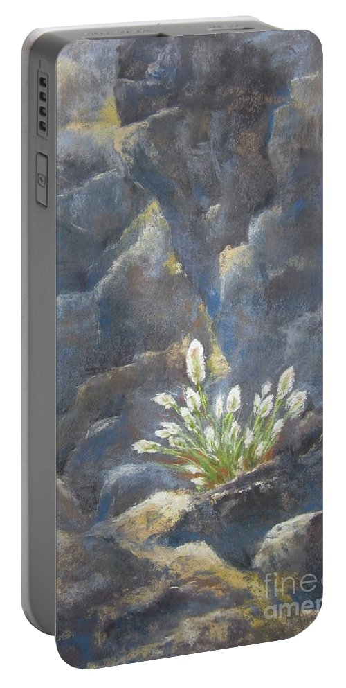 Landscape Portable Battery Charger featuring the painting The Power Of Light by Sabina Haas