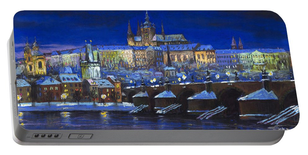 Prague Portable Battery Charger featuring the painting The Prague Panorama by Yuriy Shevchuk