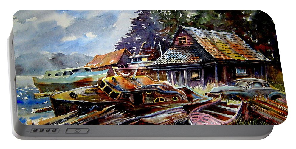 Boats Portable Battery Charger featuring the painting The Preserve Of Captain Flood by Ron Morrison