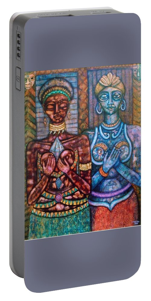 Priestesses Portable Battery Charger featuring the painting The Priestess Of The Occult by Madalena Lobao-Tello