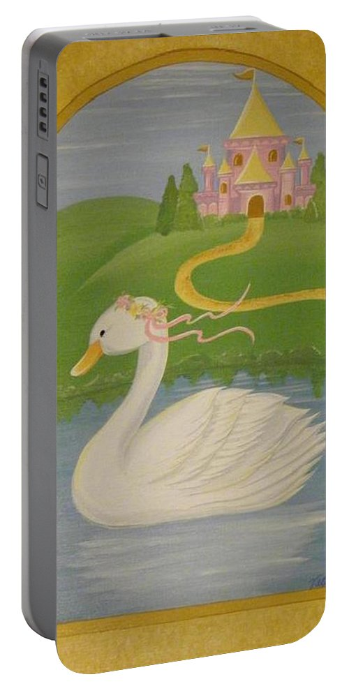 Swan Portable Battery Charger featuring the painting The Princess Swan by Valerie Carpenter