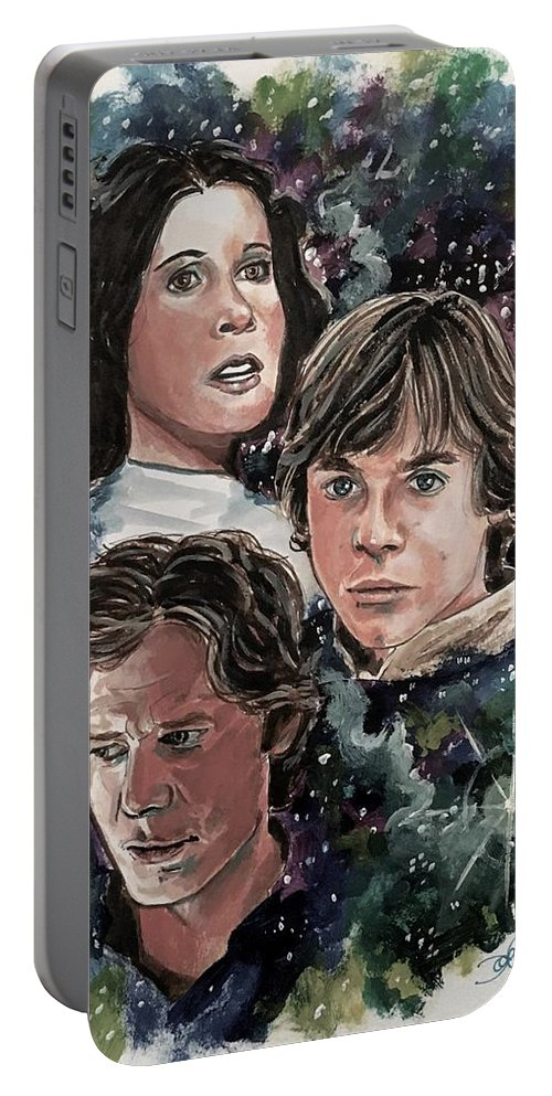 Star Wars Portable Battery Charger featuring the painting The Princess, The Knight And The Scoundrel by Joel Tesch