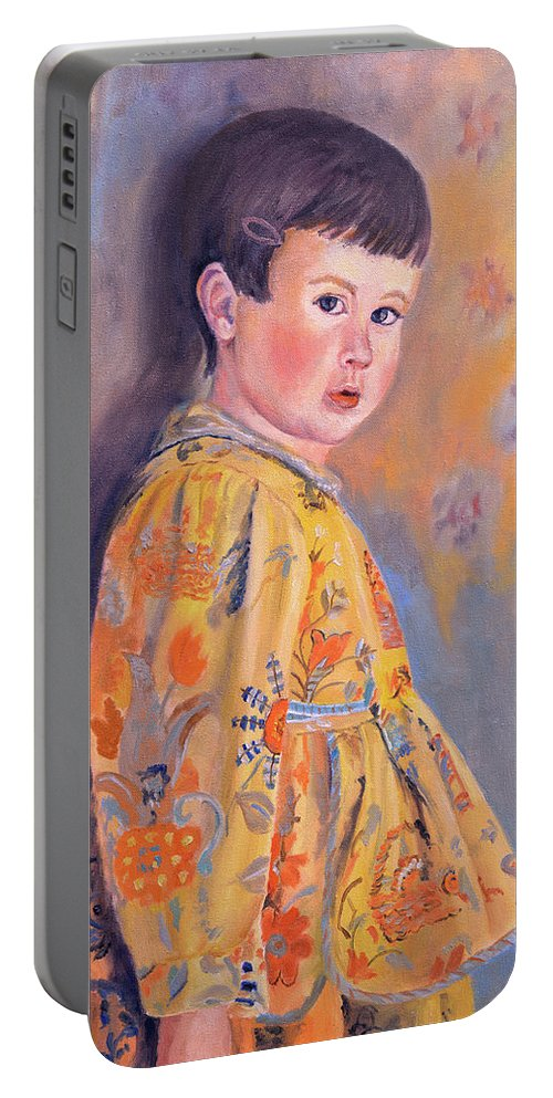 Impressionism Portable Battery Charger featuring the painting The Print Dress by Keith Burgess
