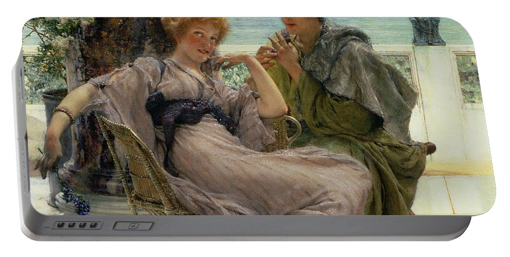Courtship (the Proposal) 1892 (oil On Canvas) By Sir Lawrence Alma-tadema (1836-1912) Portable Battery Charger featuring the painting The Proposal by Sir Lawrence Alma Tadema