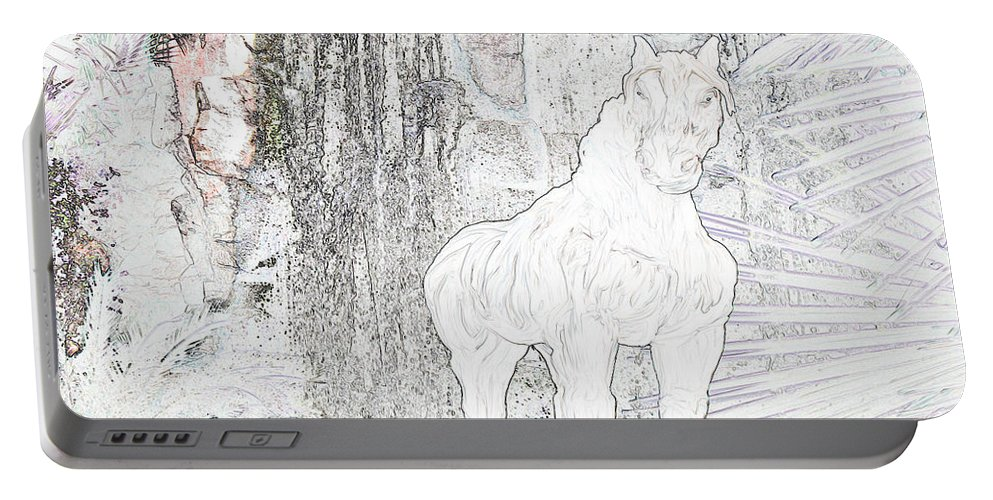 Waterfall Horse Horses Stallion Jungle Forest Scenery Trees Fantasy Portable Battery Charger featuring the photograph The Protector by Andrea Lawrence