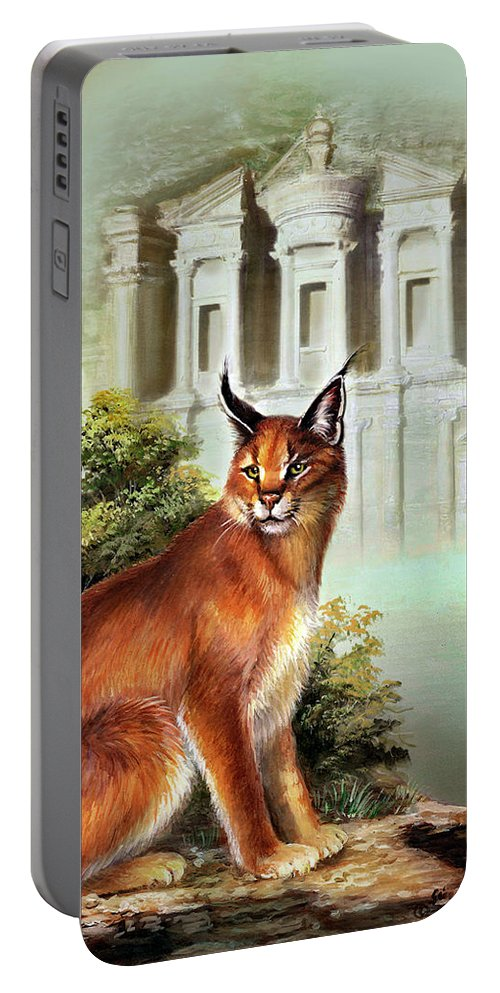 Wildlife Portable Battery Charger featuring the painting The Protector Of The City Of Petra by Regina Femrite