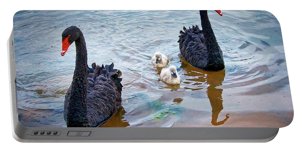 Nature Portable Battery Charger featuring the photograph The Protectors, Black Swans and Cygnets by Zayne Diamond Photographic
