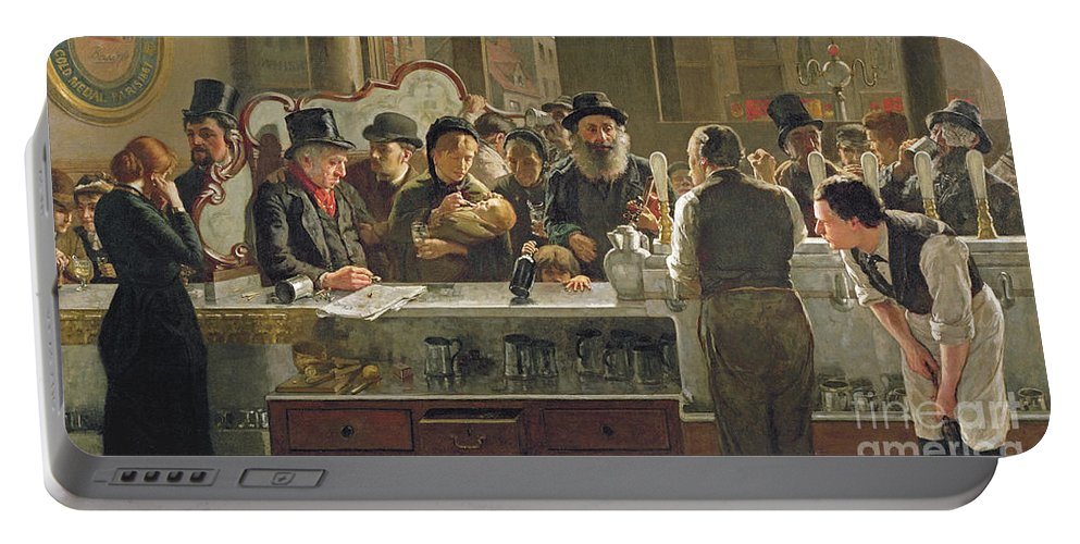 Drinking;drink;social;pub;landlord;barman;barmen Portable Battery Charger featuring the painting The Public Bar by John Henry Henshall