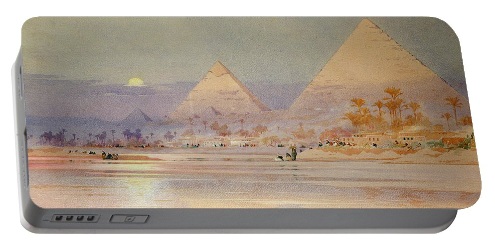 The Portable Battery Charger featuring the painting The Pyramids At Dusk by Augustus Osborne Lamplough