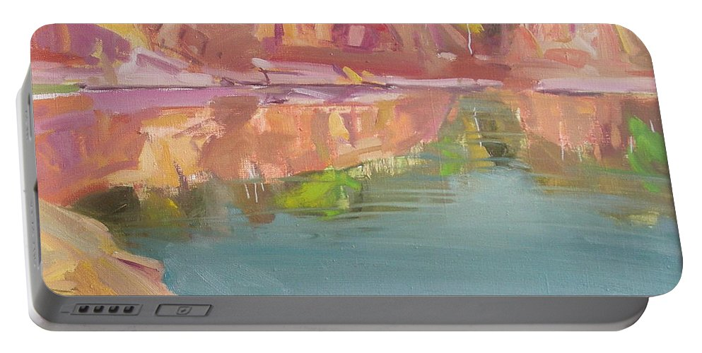 Oil Portable Battery Charger featuring the painting The Quarry by Sergey Ignatenko