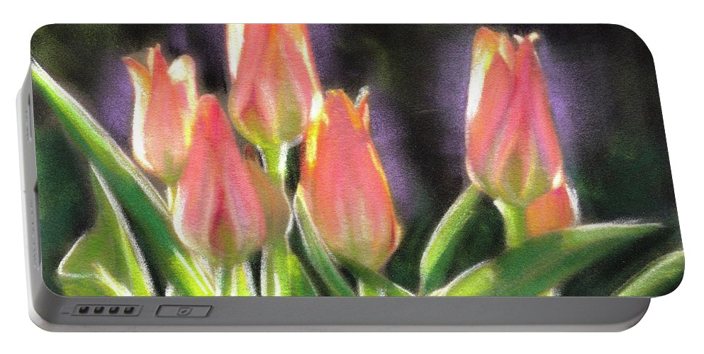 Pink Flower Portable Battery Charger featuring the painting The Queen's Tulips by Melissa Herrin