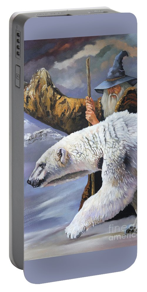 Wizard Portable Battery Charger featuring the painting The Quest by J W Baker