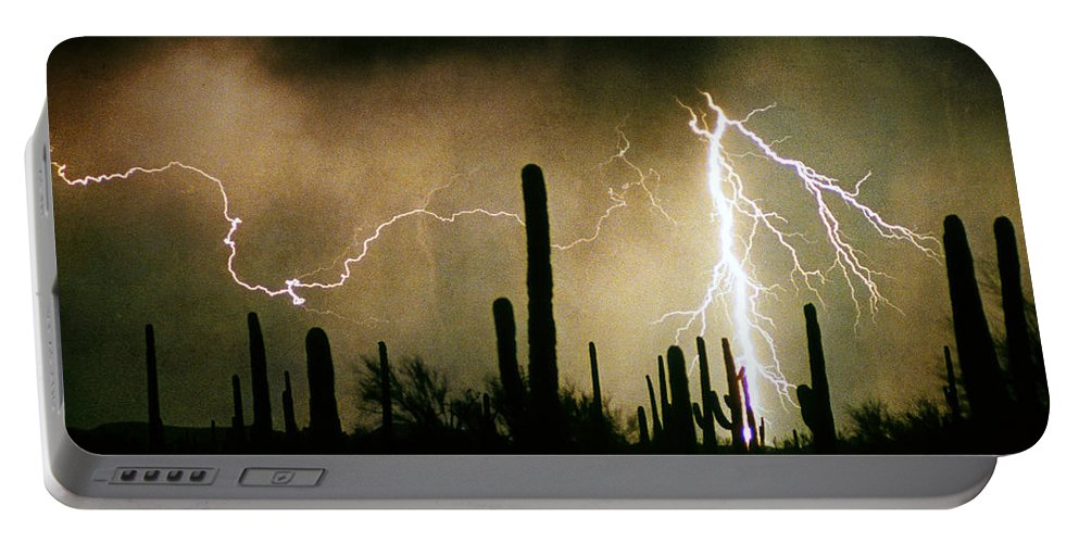 Lightning Portable Battery Charger featuring the photograph The Quiet Southwest Desert Lightning Storm by James BO Insogna