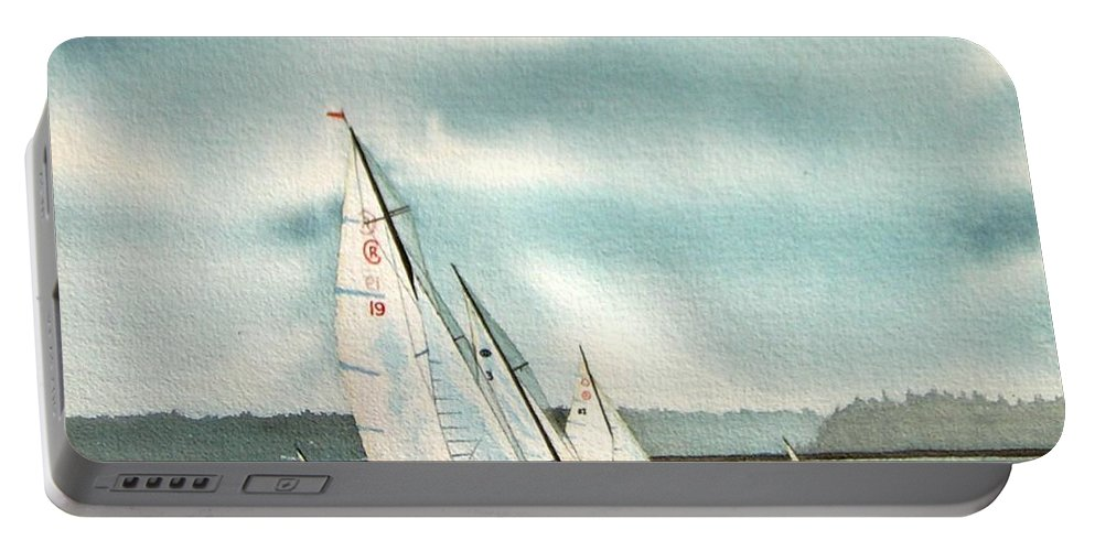 Sailing Portable Battery Charger featuring the painting The Race by Gale Cochran-Smith