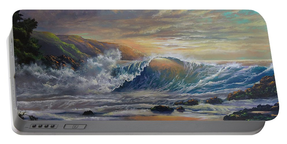 Seascape Portable Battery Charger featuring the painting The Radiant Sea by Marco Antonio Aguilar