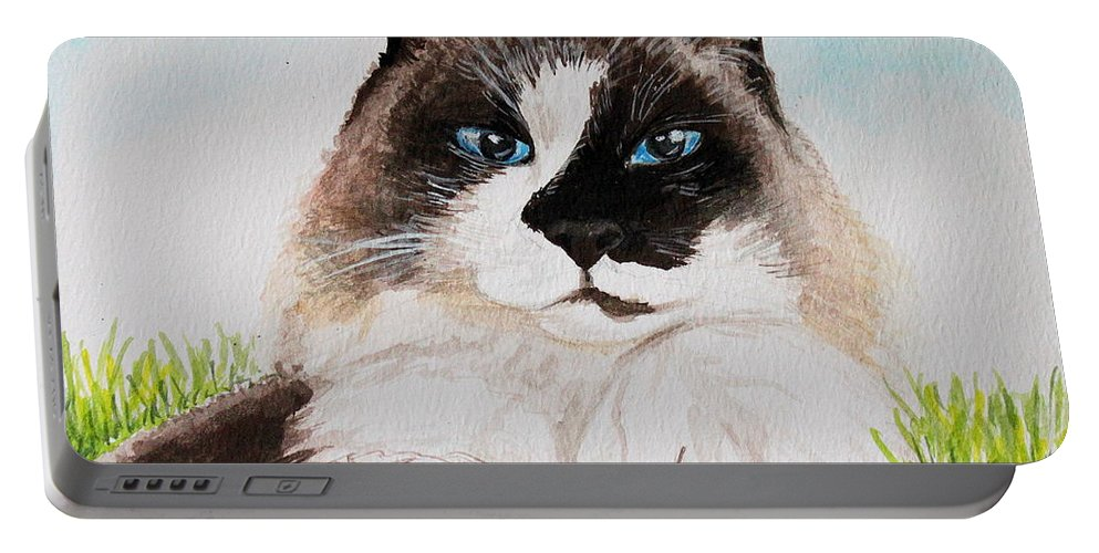 Pet Portable Battery Charger featuring the painting The Ragdoll by Elizabeth Robinette Tyndall
