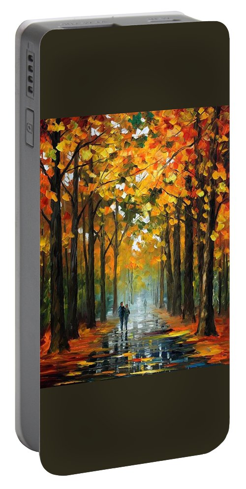 Afremov Portable Battery Charger featuring the painting The Rain Is Gone by Leonid Afremov